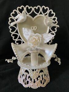 Vintage Wedding Cake Topper Doves~Bells~Faux Pearls~Silk Rose~Rings