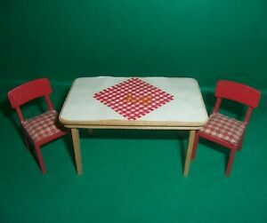 VINTAGE 1970's LUNDBY DOLLS HOUSE KITCHEN TABLE & CHAIRS