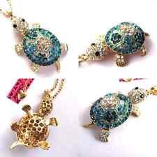 NWT Betsey Johnson Blue & Diamond White Crystal Turtle Tortoise Pendant Necklace