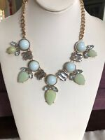 Mint Green gray and green rhinestone bohemian babe statement necklace gold chain