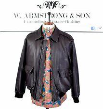 Men's BURBERRY Black GENUINE LEATHER Bomber Indie MOD 80s 90s Designer Jacket M