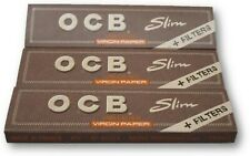 OCB Virgin King Size Slim Unbleached Super Thin Rolling Papers with Zig Zag Tips