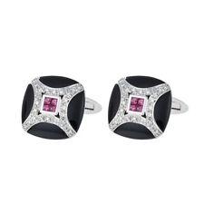 18K White Gold Black Onyx Diamond Ruby Rounded Square Men's Cufflinks