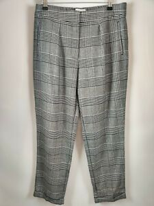 M&S Women Tapered Trousers Grey Check Print UK 12 Regular Blogger Short NEW L27
