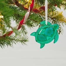 2017 Hallmark Honu Glass Green Sea Turtle Ornament Hibiscus Flower Hawaii Ocean