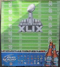 "Superbowl XLIX Bud Light Football Poster Sports Man Cave Rare 40.5""X36"" Nice"