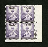 US Stamps Plate Blocks #1008 ~1952 NATO 3c Plate Block MNH