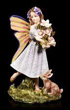 Figura Elfos - SHANTY con flores y conejo - niño niña hada Estatua Decoración