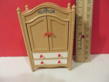 Vintage Tomy Dollhouse Furniture Armoire w/ 2 Hangers Excellent Condition