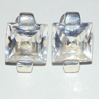 Big clear crystal square 925 sterling silver leverback pierced earrings, estate