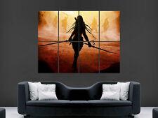 Espada Samurai De Fantasía Chica Guerrero Póster Imagen Gigante Enorme Grande De Pared Arte