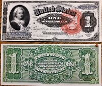 LOT OF 2 Reproduction 1886 $1 Bill Martha Washington,Silver Cert, High Res,Large