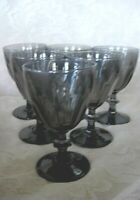 Set of 6 Vintage Midnight / Dark Smokey Gray Glass Wine Goblets - Made in France