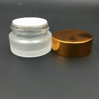frosted Silver glass cream jar ,Cosmetic Glass Container with Gold lid