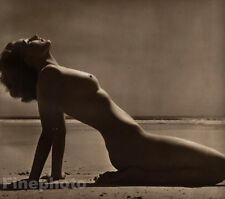 1940 Original FEMALE NUDE Beach Ocean Sun Photo Art Deco England By JOHN EVERARD