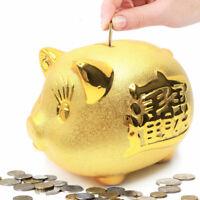 Gold Piggy Bank 招財進寶 We Wish You Wealth and Success Saving Box ~ US Seller