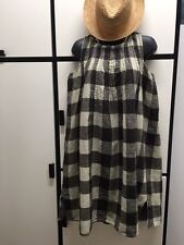 Kapital S Cotton Hemp Black Charcoal Combo Check Pin Tuck Jewel Neck Dress