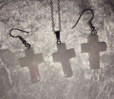 White Pink Quartz Cross Drop Hook Dangle Silver P Earrings & Necklace Set