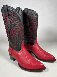 Men's Los Altos Smooth Ostrich Boots Red Genuine Exotic Skin Handmade 12 999712