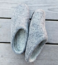 Felted Gray Wool Women's Slippers, US Size 9 Winter shoes