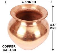 "Pure Copper Pot Kalash 4.5"" X4.5"" Hindu Pooja Religious Surya Namaskar Puja Lota"