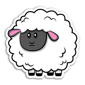 2 x 10cm Cute Sheep Vinyl Stickers - Cartoon Animal Farm Lamb Sticker #29934