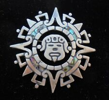 Vintage Taxco Mexico Mexican Aztec Sunstone Pin Brooch Pendant Sterling Silver