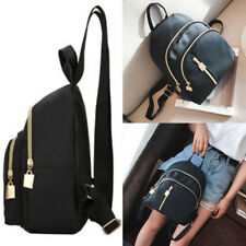 Womens Girls Small Backpack Travel Nylon Handbag Shoulder Bag Black Oxford Cloth
