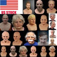 Lifelike Old Man Halloween Mask Human Wrinkle Face Mask Full Head Costume Party