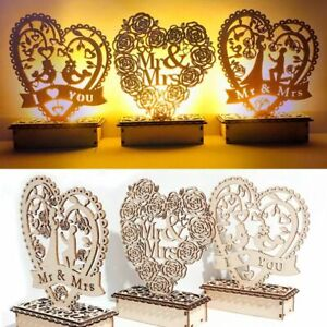 Mr & Mrs Wedding Lights Wooden Love Heart Home Decoration  Party Supplies Gifts