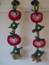 Country Christmas Apple Cinnamon Braided Twine Red & Green Hanging Decoration