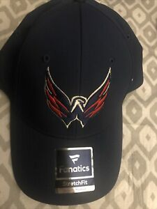 Washington Capitals Authentic HAT HOCKEY Fanatics Stretch Fit FLEX HAT Navy S/M