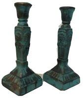 Terra Cotta Blue/Gold Glazed Pottery Classic Column Candlestick Holder