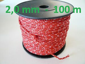 100 m  Maurerschnur 2 mm, Pflasterschnur rot Flechtleine, Polypropylen Seil