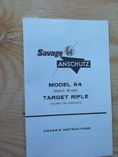 SAVAGE ANSCHUTZ MODEL 64 TARGET 22LR OWNERS INSTRUCTIONS MANUAL 4 PAGES