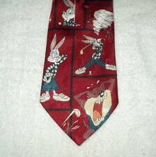Tie Novelty Cartoon Looney Tunes Taz and Bugs Bunny playing Golf