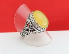 Vintage 925 Sterling Silver Cabochon Yellow Quartz Stone Filigree Dome Ring