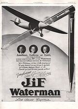 Publicité JIF Waterman Aviation LOTTI LEFEVRE ASSOLANT ad  1929 - 1j