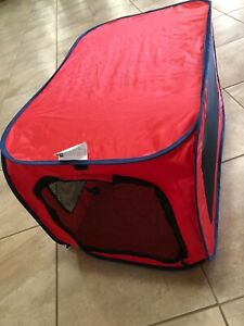 "SportPet Designs Soft-Sided Medium Portable Kennel Pro Pop Open, 36"" long RED"