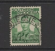 SOUTHERN RHODESIA GEORGE VI 1/2d GREEN With QUE QUE POSTMARK