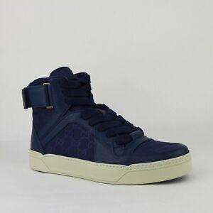 $795 Gucci Blue Guccissima Nylon Hi Top Sneaker w/Leather Trim 409766 4275