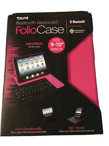 """Bluetooth Keyboard Folio Case 9-10"""" Tablets Hot Pink iPad Android iPad Tzumi"""