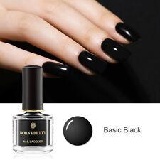 6ml BORN PRETTY Gloss Black Nail Polish Basic Black Base Pure Color Varnish DIY