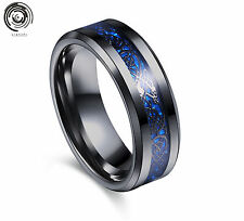 8mm Mens Jewelry Men's Silvering Celtic Dragon Stainless Steel Ring W598 Blue Black 9