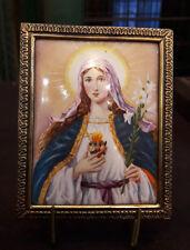 ANTIQUE SMALL LIMOGES ENAMEL  RELIGIOUS PLAQUE, VIRGIN MARY