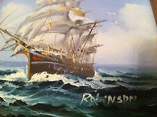 vintage Oil Painting Tall Ship Sailing In The Sea Artist Robinson Seagull Ocean