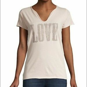 Zadig & Voltaire Tunisien Love Western T-Shirt Top Beaded Pink Cotton New L