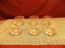 "Nice Set of 6 Small Gray Cut Wheat Design Roly Poly Glasses 2 1/4""T x 2 1/2"" W"