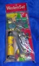 1950'S VTG TIN LITHO WESTERN SET 4 PC TOY iop BADGE, WATCH, WHISTLE, SPYGLASS