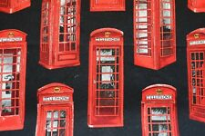 Red telephone box fabric with Black background